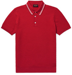 Tod's Slim-Fit Contrast-Tipped Basketweave Stretch-Cotton Polo Shirt