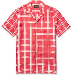 Tod's Camp-Collar Checked Silk-Twill Shirt