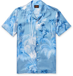 Tod's Camp-Collar Printed Silk-Twill Shirt