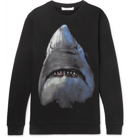 Shark Print Fleece Back Cotton Jersey Sweatshirt by Givenchy