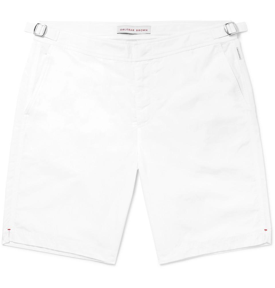 Dane Long-length Swim Shorts - White