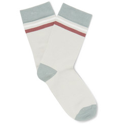 Maison Kitsuné Striped Cotton Socks