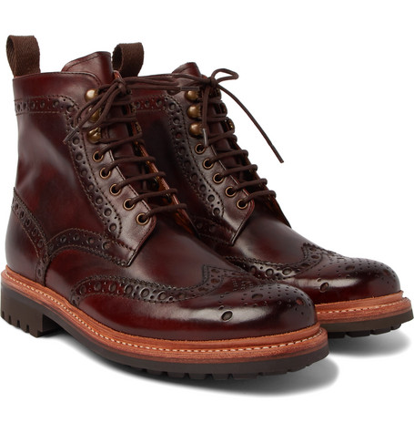 fd76dab4cf8 Grenson Fred Burnished-Leather Brogue Boots In Dark Brown ...