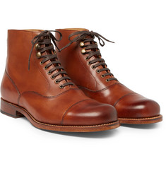 Grenson - Leander Cap-Toe Burnished-Leather Boots