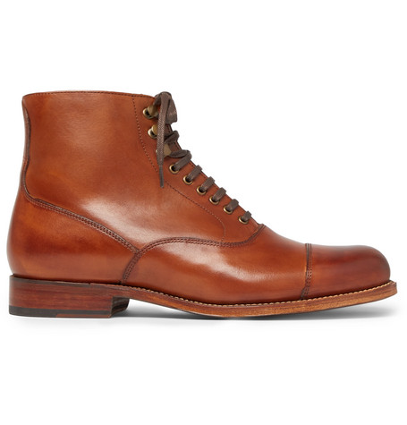 GRENSON Leander Cap-Toe Burnished-Leather Boots in Tan