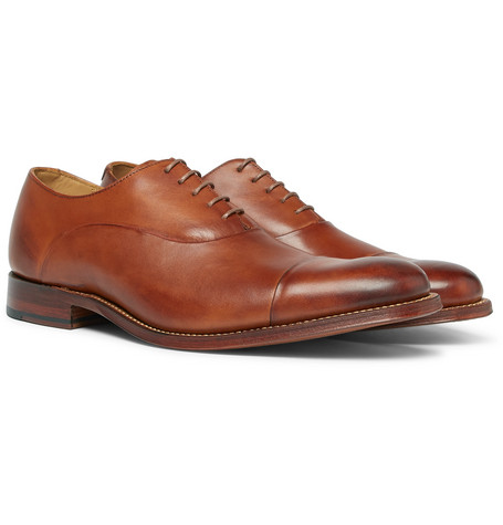 GRENSON Bert Cap-Toe Leather Oxford Shoes