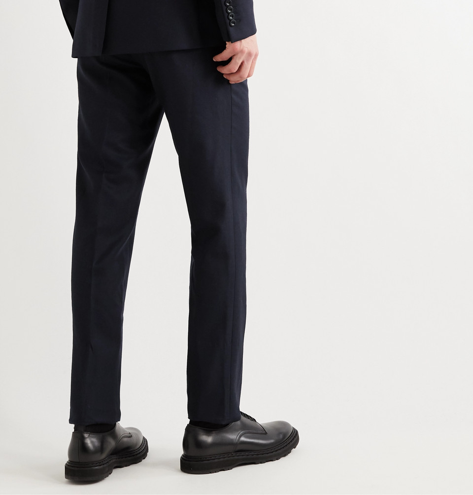 Mr P. Navy Worsted Wool Trousers