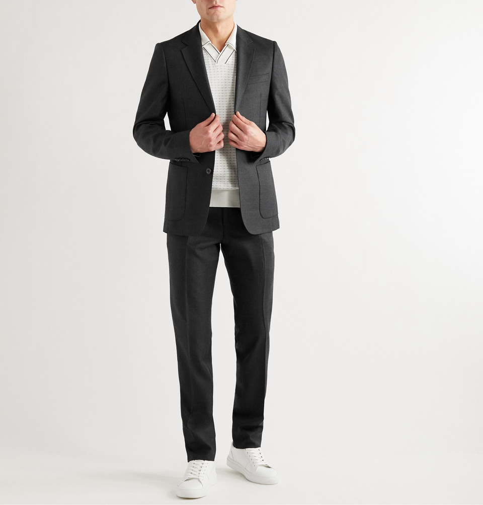 Mr P. Grey Worsted Wool Trousers
