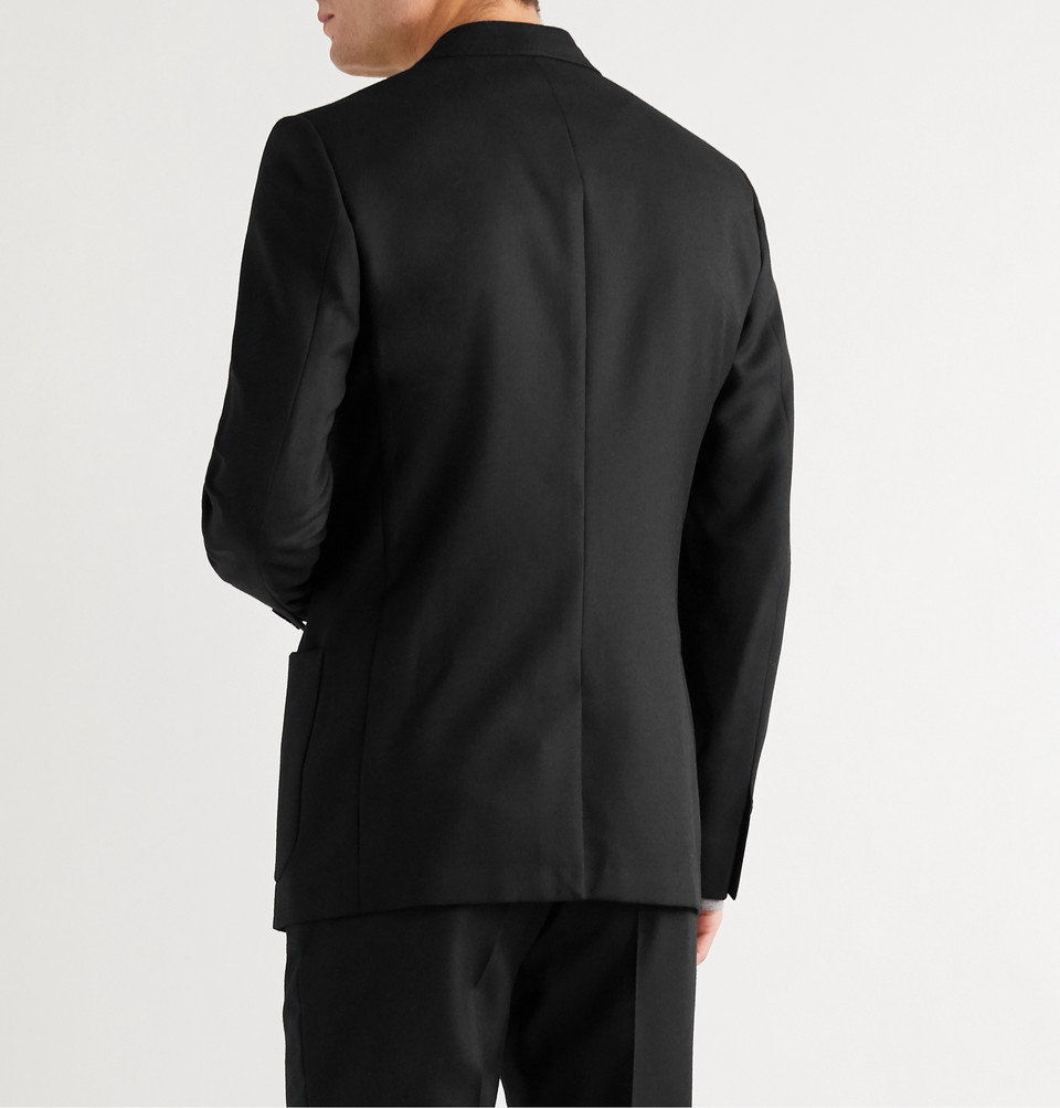 Mr P. Black Unstructured Worsted Wool Blazer