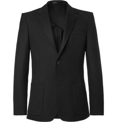 Mr P. - Black Unstructured Worsted Wool Blazer