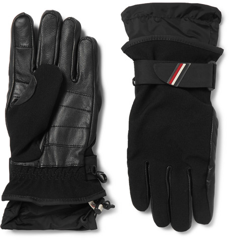 Shell-trimmed Fleece And Leather Ski Gloves