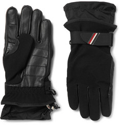 Moncler Grenoble Shell-Trimmed Fleece and Leather Ski Gloves