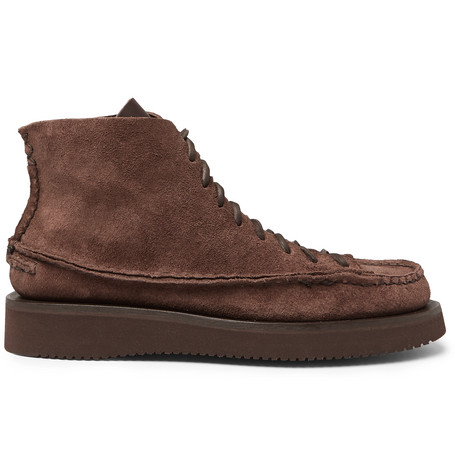 YUKETEN Sneaker Moc High Leather Boots in Chocolate