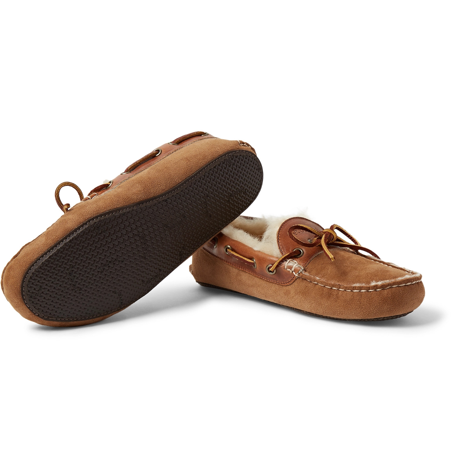 4f9d44033c0 Quoddy - Fireside Leather-Trimmed Shearling-Lined Suede Slippers
