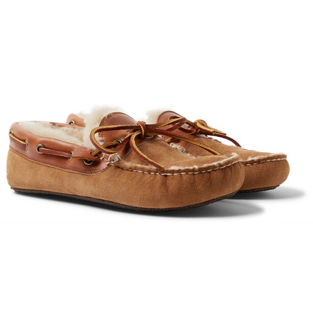 QUODDY Fireside Leather-Trimmed Shearling-Lined Suede Slippers in Brown