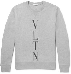 Valentino Printed Mélange Loopback Cotton-Blend Jersey Sweatshirt