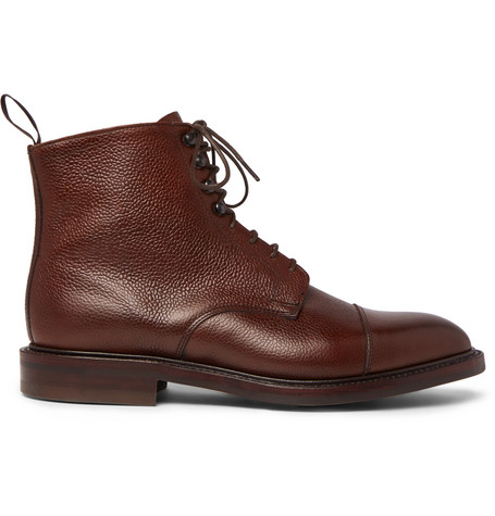 KINGSMAN + George Cleverley Cap-Toe Pebble-Grain Leather Boots - Chocolate