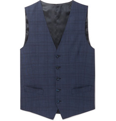 Thom Sweeney - Navy Slim-Fit Prince of Wales Checked Wool-Blend Waistcoat