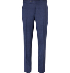 Thom Sweeney - Blue Slim-Fit Prince of Wales Checked Stretch-Wool Suit Trousers