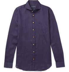 Thom Sweeney - Slim-Fit Cutaway-Collar Linen-Chambray Shirt
