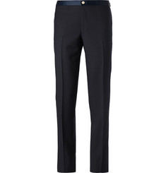 Thom Sweeney Midnight-Blue Slim-Fit Satin-Trimmed Wool Tuxedo Trousers