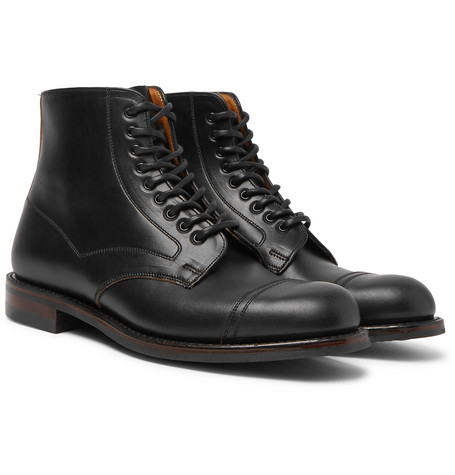 CHEANEY Jarrow Cap-Toe Leather Boots in Black
