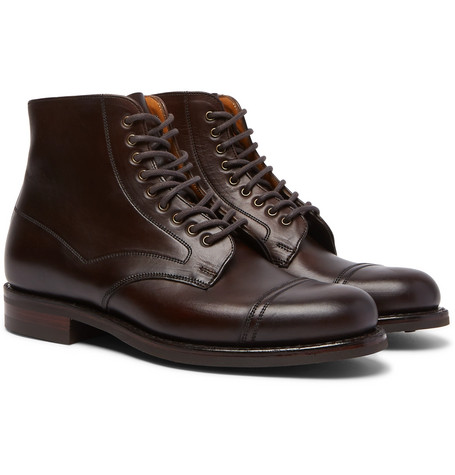 CHEANEY Jarrow Cap-Toe Leather Boots - Brown