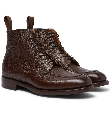 CHEANEY Richmond Pebble-Grain Leather Boots in Brown