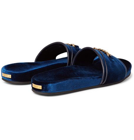 Churchill Chain-trimmed Velvet Slides - NavyTom Ford Ga1ZGpV