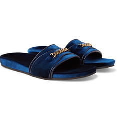TOM FORD Churchill Chain-Trimmed Velvet Slides