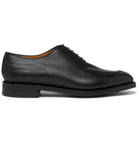 EDWARD GREEN Dover Textured-Leather Derby Shoes - Black