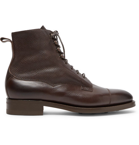 EDWARD GREEN Galway Cap-Toe Textured-Leather Boots - Brown