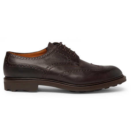 EDWARD GREEN Borrowdale Textured-Leather Wing-Tip Brogues - Brown