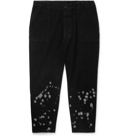 Cropped Bleach Splattered Cotton Canvas Trousers by The Elder Statesman