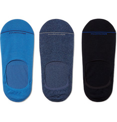 Marcoliani Three-Pack Invisible Touch Stretch Pima Cotton-Blend No-Show Socks