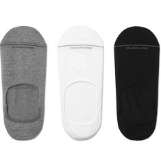 Marcoliani - Three-Pack Invisible Touch Stretch Pima Cotton-Blend No-Show Socks