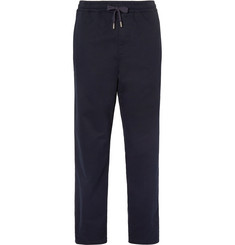Mr P. - Brushed Stretch-Cotton Twill Drawstring Trousers