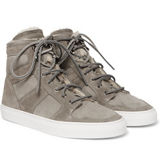 Ralph Lauren Purple Label - Seaham II Shearling-Lined Suede High-Top Sneakers