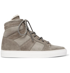 Ralph Lauren Purple Label Seaham II Shearling-Lined Suede High-Top Sneakers