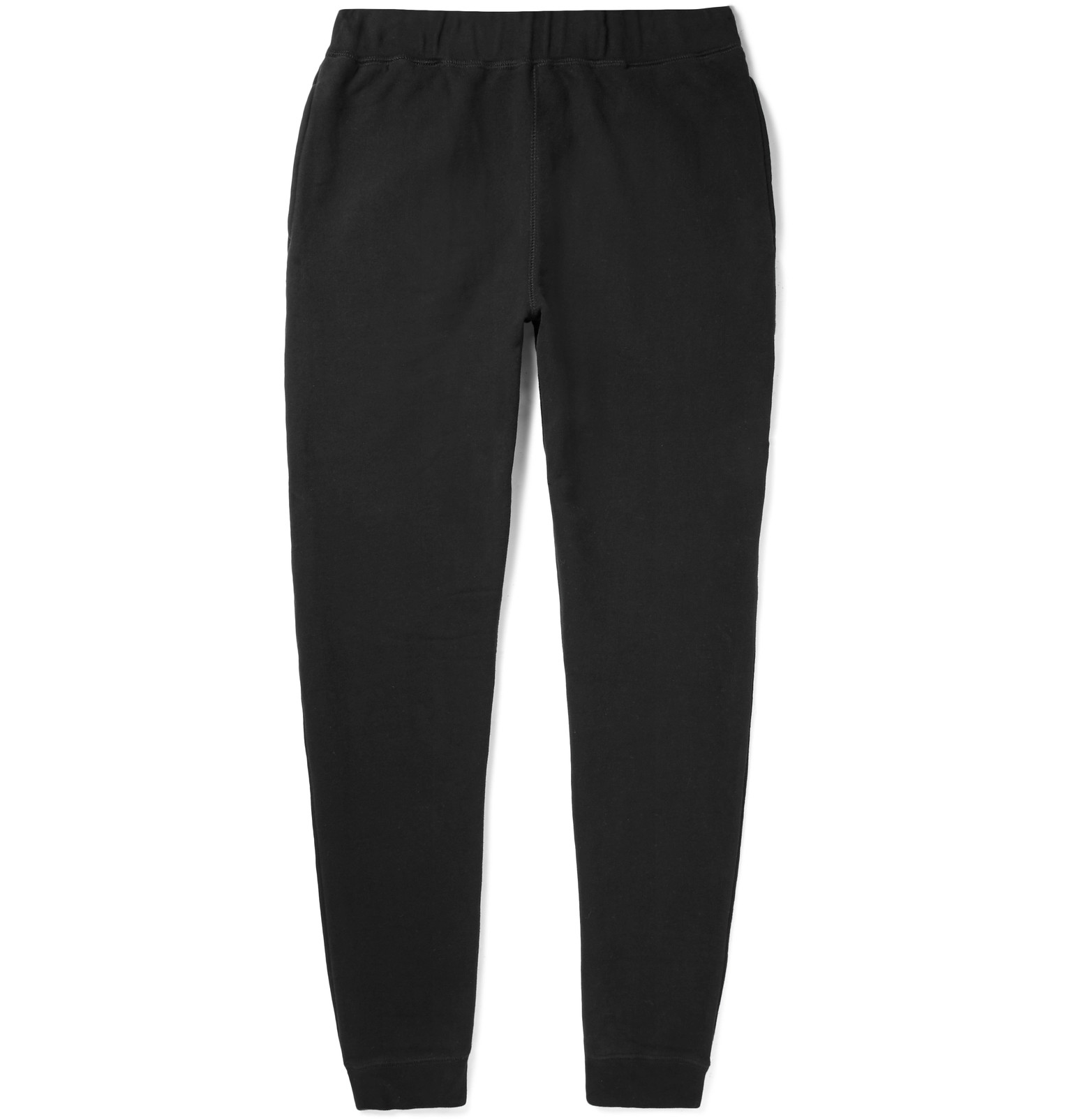 Sunspel Tapered Brushed Loopback Cotton-jersey Sweatpants - Black