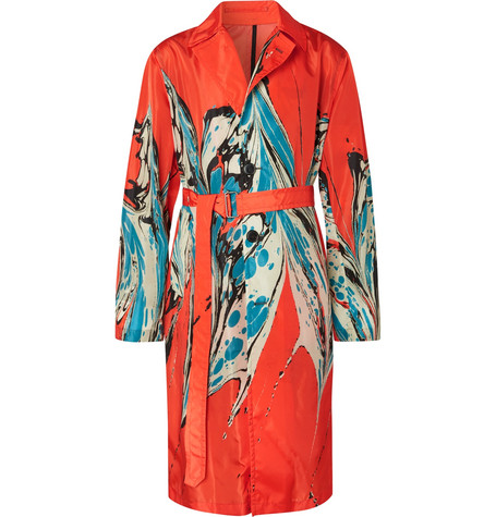 2d99b2419c2a Dries Van Noten - Marble-Print Shell Trench Coat