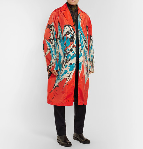 Marble Print Shell Trench Coat by Dries Van Noten