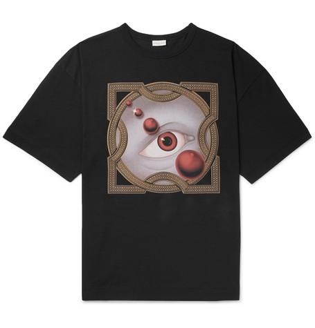 Oversized Printed Cotton Jersey T Shirt by Dries Van Noten