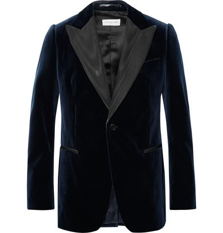 Midnight Blue Slim Fit Faille Trimmed Cotton Velvet Tuxedo Jacket by Dries Van Noten