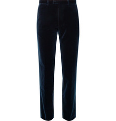 Dries Van Noten Midnight-Blue Slim-Fit Cotton-Velvet Tuxedo Trousers