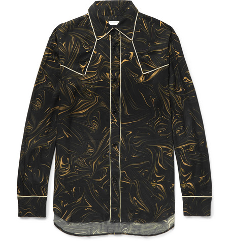 Oversized Piped Marble Print Satin Western Shirt by Dries Van Noten