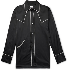 Dries Van Noten - Oversized Piped Satin Western Shirt