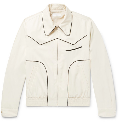 Piped Satin Twill Bomber Jacket by Dries Van Noten