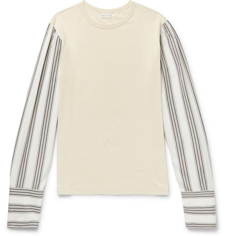 Striped Poplin Trimmed Cotton Jersey Top by Dries Van Noten