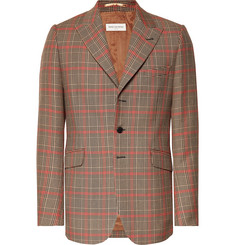 Dries Van Noten Camel Checked Wool-Blend Blazer